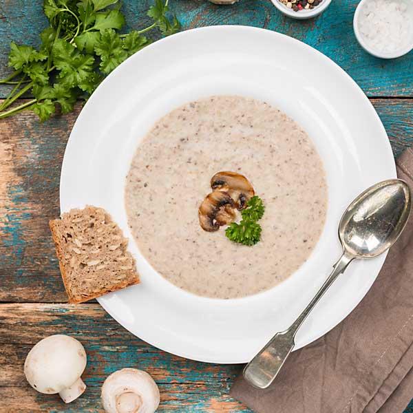 soupe aux champignons vegane